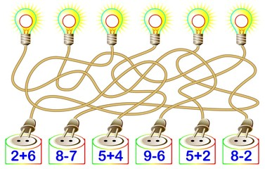 Exercises for children - need to solve examples and write the answers on the corresponding lamps. Developing skills for counting. Vector image.