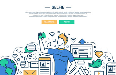 Selfie - line design website banner