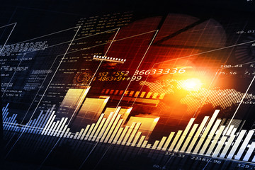 Financial chart and graphs background. stock market anylis. .