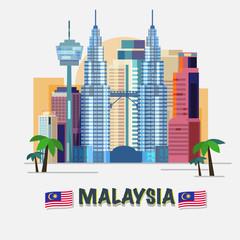 Kuala Lumpur, Malaysia - vector