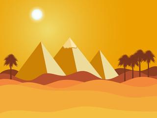 Egyptian pyramids. Sun over the pyramids. Desert. Vector illustration.