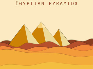 Landscape with the Egyptian pyramids. Paper Desert. Vector illustration.