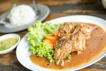 Pork ribs baked with honey delicious Thai food.