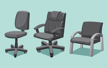 Collection types office chair. Cartoon isolated vector illustration.