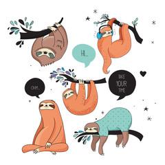 Cute hand drawn sloths illustrations, funny vector design
