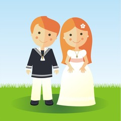 First Communion redheads children in a garden