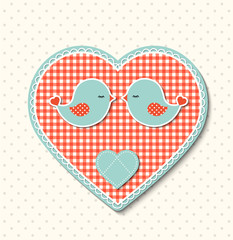 Red heart with canvas texture and two cute birds, illustration
