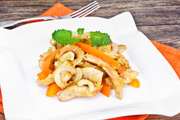 Chicken with Cashew Nuts and Sweet Paprika Grilled. Asian, Thai