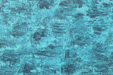 Oil painting blue  background. Palette knife oil paint. Art concept.