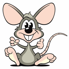 Cartoon Maus grau sitzen zeigen