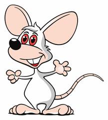 Comic Maus weiß stehen zeigen