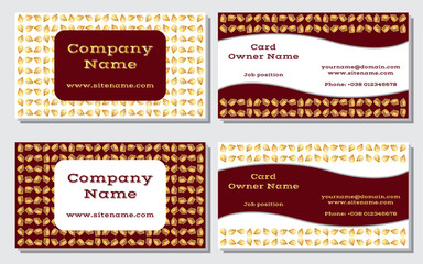 Elegant and modern business card. The refined design. A beautiful combination of gold, yellow, white and rich, deep red color. Vector illustration