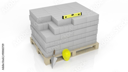 3d rendering of masonry tools and bricks isolated on for Online rendering tool