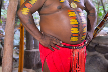 Details of Native Australian man with body painting