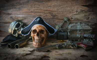 pirate skull concept , still life