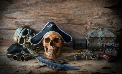 pirate skull concept , still life