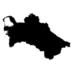 Turkmenistan black map on white background vector