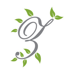 letter scrip with leaf green