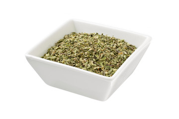 bowl of green tea leaves