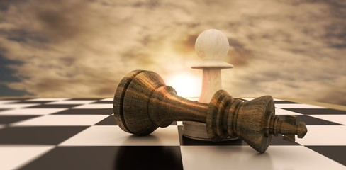 Composite image of white pawn standing over fallen black king