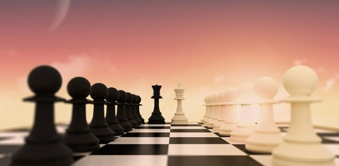 Composite image of white and black pawns facing off with king an