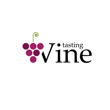Vector sign wine tasting with grapes and text