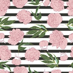 Vector seamless pattern of peony in trendy pantone  colour rose quartz. Hand drawn floral Wrapping paper, wallpaper, print for greeting card, invitations, wedding.