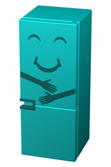Turquoise smiling refrigerator. 3D rendering.