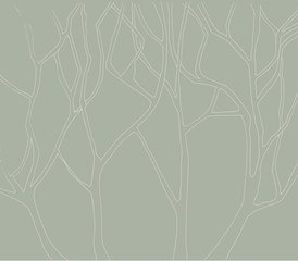 Abstract trees branch line art illustration in grey tone.
