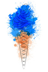 Vector illustration of cartoon outline ice cream with watercolor splashes