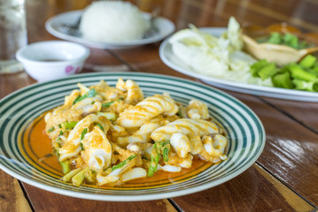 Stir Fried Squid with Salted Eggs delicious Thai sea food.