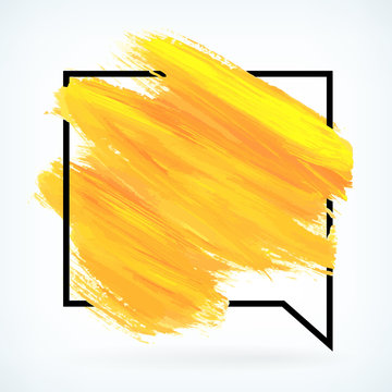 Yellow paint artistic dry brush stroke vector background