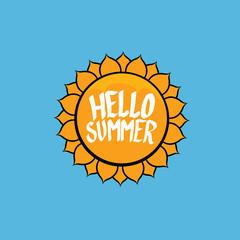 Hello Summer funny vector illustration.
