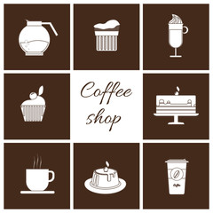 A monochrome set of coffee items, cup of coffee with steam, cake, glass, jug, jar, with coffee shop inscription, in outlines, over a brown background, digital vector image