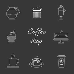 A monochrome set of coffee items, cup of coffee with steam, cake, glass, jug, jar, with coffee shop inscription, in outlines, over a silver background, digital vector image
