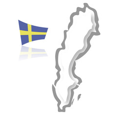 Sweden map, with its flag