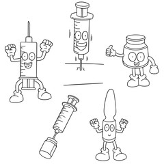 vector set of injection medicine cartoon