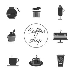 A monochrome set of coffee items, cup of coffee with steam, cake, glass, jug, jar, with coffee shop inscription, in outlines, over a white background, digital vector image