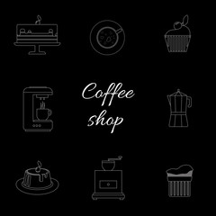 A monochrome set of coffee items, cup of coffee with steam, cake, glass, jug, jar, with coffee shop inscription, in outlines, over a black background, digital vector image