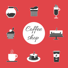 A monochrome set of coffee items, cup of coffee with steam, cake, glass, jug, jar, with coffee shop inscription, in outlines, over a red background, digital vector image