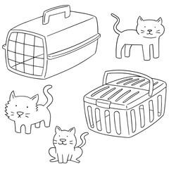 vector set of cat carrier