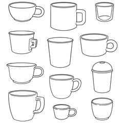 vector set of beverage cup