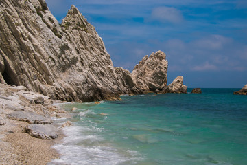 The famous beach of two sisters (Spiaggia delle due sorelle) at Conero park in Italy.