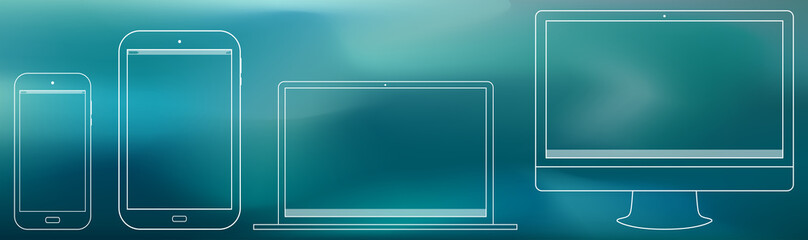 Computer Screen, Tablet PC, Notebook, Smart Phone Outline  Vector illustration.