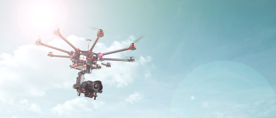 Octocopter, copter, drone Wall mural