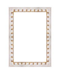 wooden white frame for painting or picture isolated on background