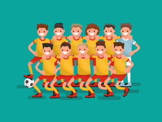 Football team. Eleven players together. Vector illustration