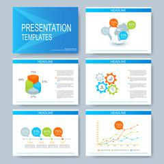 Blue set of vector templates for multipurpose presentation slides. Modern business design with graph and charts. Flat marketing advertising brochure, flyer, leaflet
