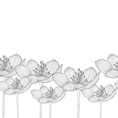 Horizontally seamless vector floral pattern