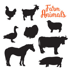 Black contours drenched farm animals, goose cow horse pig and goat kurischtsa turkey, animals isolated on white background set of different animals bird cattle, black logos and icons